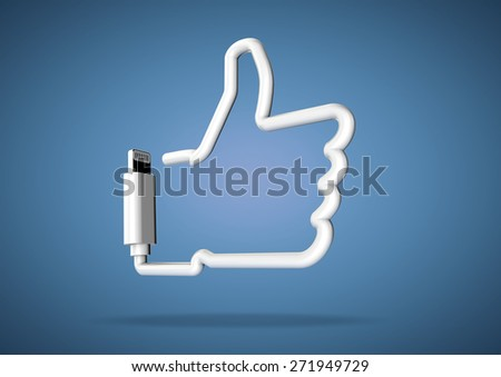 Computer cable bends to make the shape of a internet social media like icon - stock photo