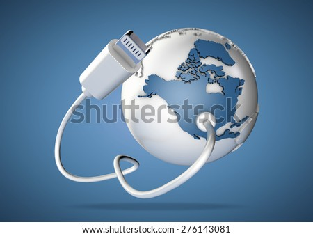 Computer cable connects to north America on world globe. Concept for how the world is connected via the internet and social media