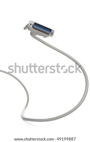 Computer cable LPT. It is isolated on a white background