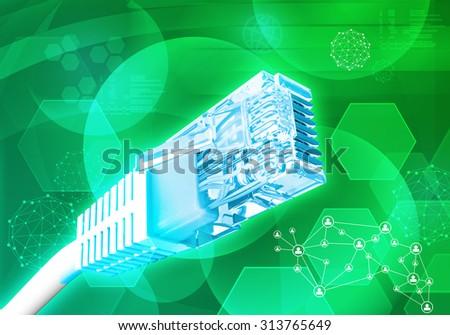 Computer cable on abstract green background with molecules - stock photo