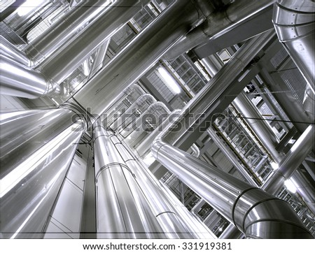 computer cad design of Steel pipelines and equipment - stock photo