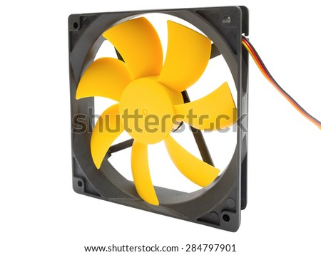 Computer case cooling fan isolated on white background - stock photo