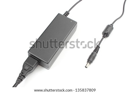 Computer charger for a laptop on white background