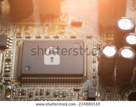 Computer chip locked , Computer Security conception. - stock photo