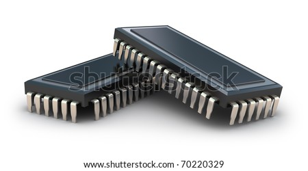 Computer chips isolated on white - stock photo