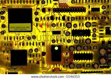 Computer circuit board back lighted.