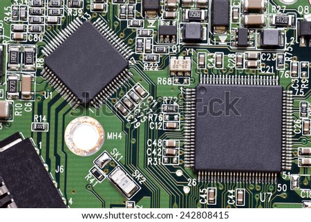 Computer Circuit Board Hardware - stock photo