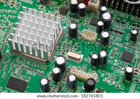 Computer circuit board with central processing unit - stock photo