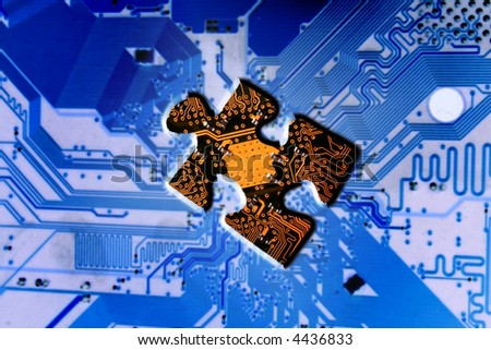computer circuit board with central processing unit as a puzzle piece or jigsaw missing - stock photo