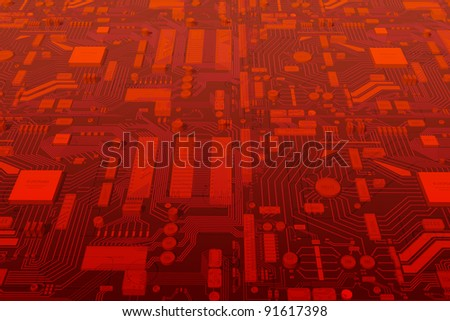 Computer circuit mainboard illustration. Technical 3D background