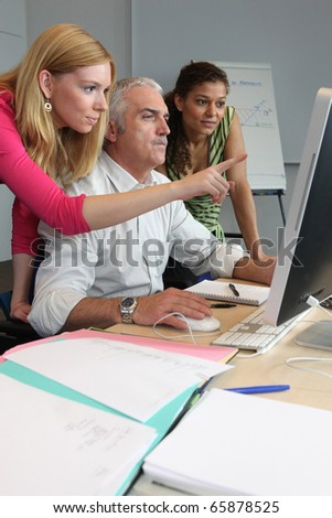 Computer class - stock photo