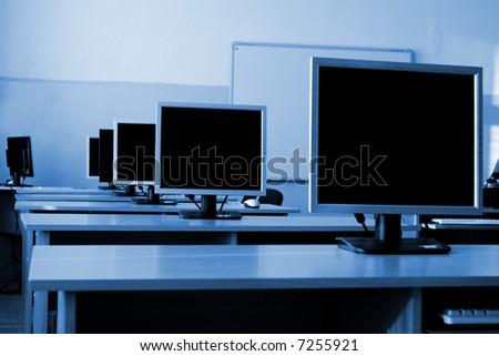 Computer class - stock photo