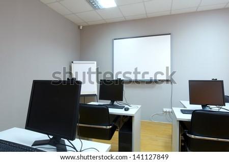 computer classroom - stock photo