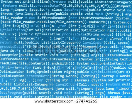 Computer code program. Software developer screen background- source code script. (MORE SIMILAR IN MY GALLERY) - stock photo