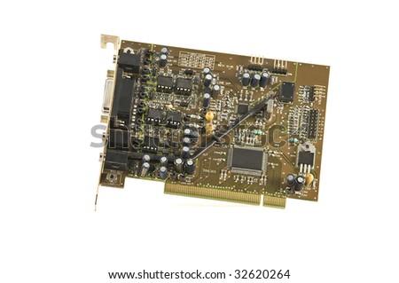 Computer component. Audio board. - stock photo