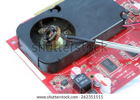 Computer component. Computer graphic card. Graphic hardware. - stock photo