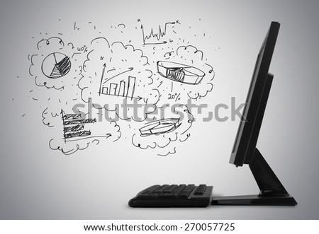Computer. Computer with blank screen - stock photo