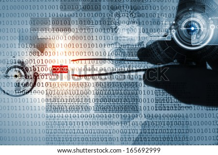 Computer concept with binary code. Security and password - stock photo
