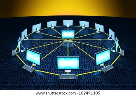 computer connect network communicating data each other - stock photo