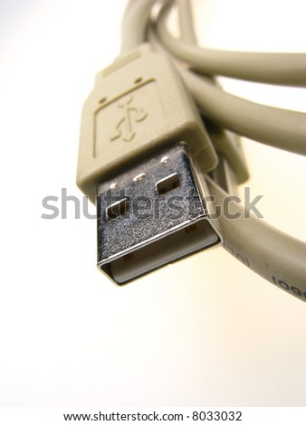 computer connecting cable on  light background,  close up
