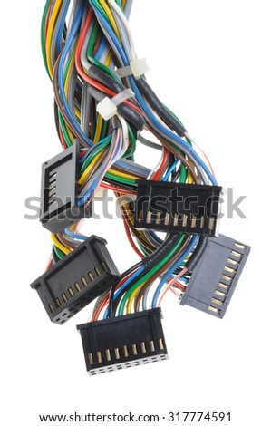 Computer connection cables and plugs isolated on white background
