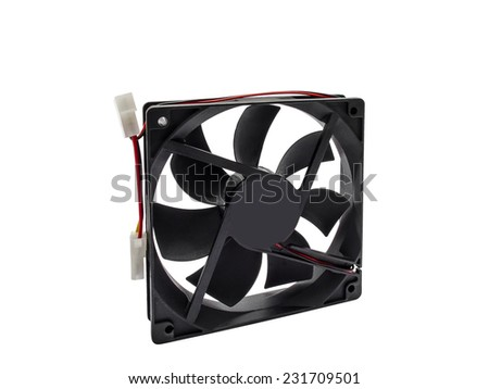 Computer cooler fan isolated on white background. - stock photo
