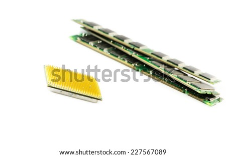 Computer CPU and RAM module isolated on white background. - stock photo