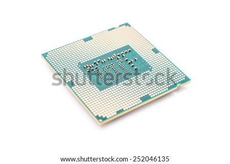 Computer CPU (Central Processing Unit) Chip Isolated On White