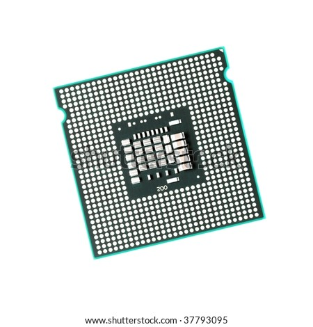Computer CPU isolated on pure white background - stock photo