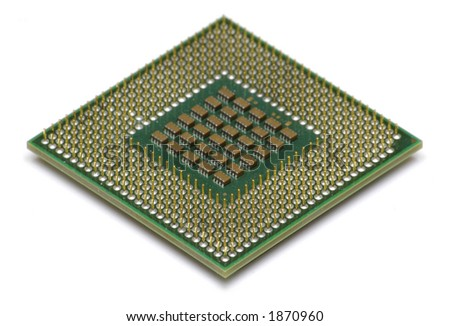 Computer CPU Isolated on White - stock photo