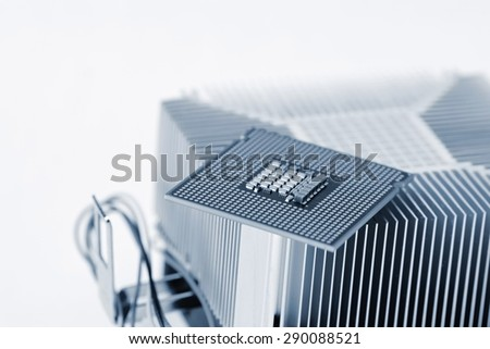 Computer CPU Processor Chip with cooler - stock photo