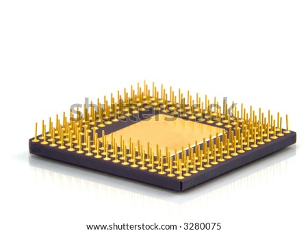 Computer CPU processor isolated on white background with a bit of reflective finish making the image look very classy.