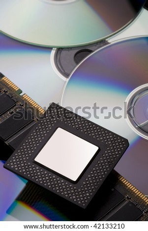 Computer CPU, rams and DVDs