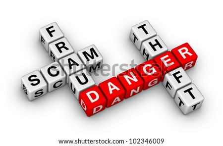computer crime - fraud, scam, theft - stock photo