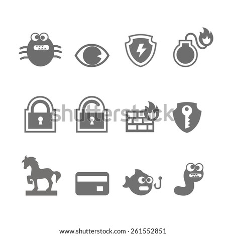 Computer criminal icons  set  in single color     - stock photo