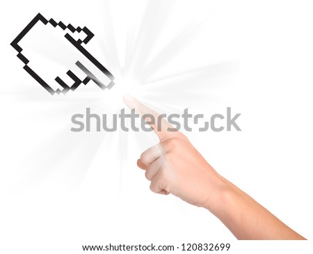 Computer cursor and hand isolated on white background - stock photo