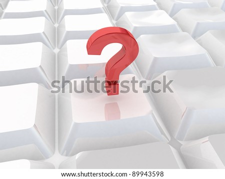 computer 3d keyboard with red question mark push  button - stock photo