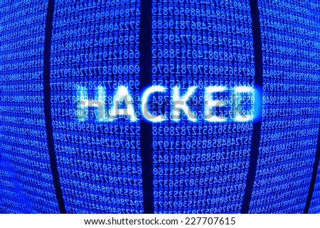 Computer data hacked, bits and digits on blue. - stock photo
