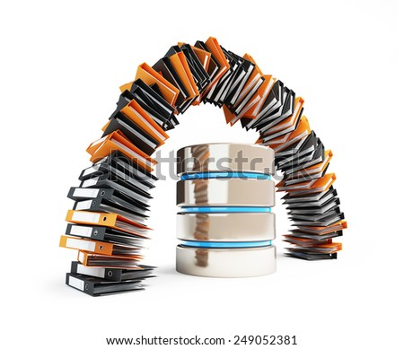 computer database will replace the classic folders in the form of an arch - stock photo