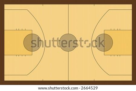Computer designed basketball court background - stock photo