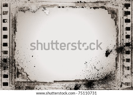 Computer designed high resolution grunge film frame with space for your text or image. Great grunge layer for your projects - stock photo