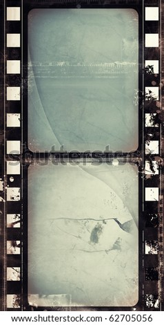 Computer designed highly detailed film frame with space for your text or image. Nice grunge layer for your projects. - stock photo