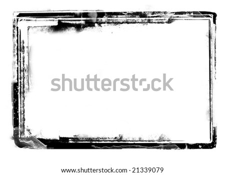 Computer designed highly detailed grunge border over white with space for your text or image. - stock photo