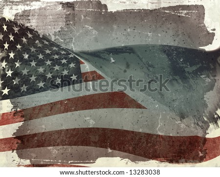Computer designed highly detailed grunge illustration - Flag of USA - stock photo