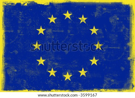 Computer designed highly detailed grunge illustration of the flag of European union