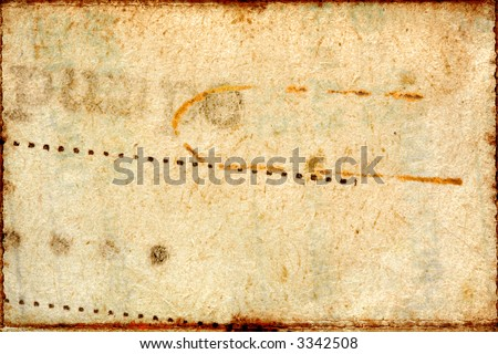 Computer designed highly detailed textured aged paper collage. Great grunge element or background layer for your projects. - stock photo