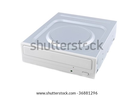 Computer device DVD RW and disks to it on a white background - stock photo
