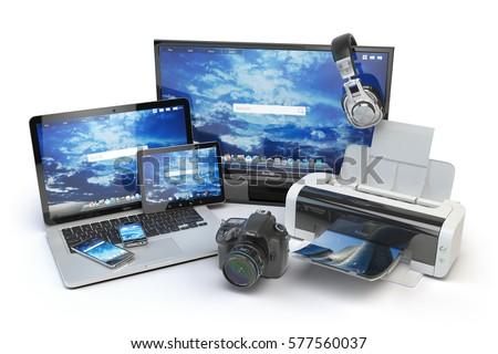 Computer devices office equipment mobile phone stock illustration 577560037 shutterstock - Tv und mediamobel ...