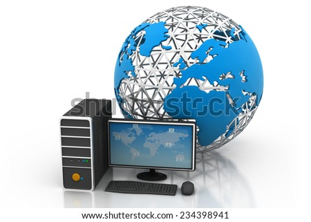 computer  Devices connected to digital  world - stock photo