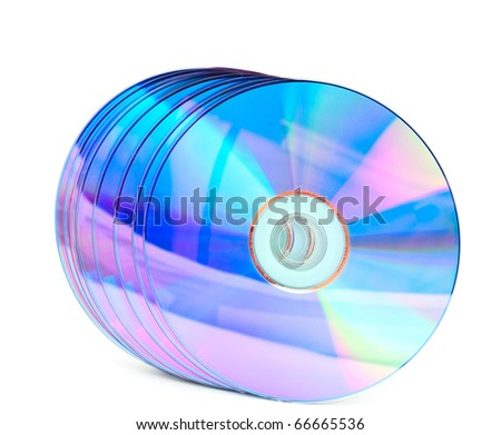 computer disks on a white background - stock photo